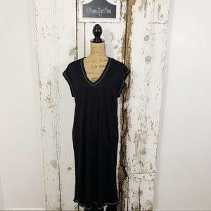 Zara collection midi v neck black shirt dress